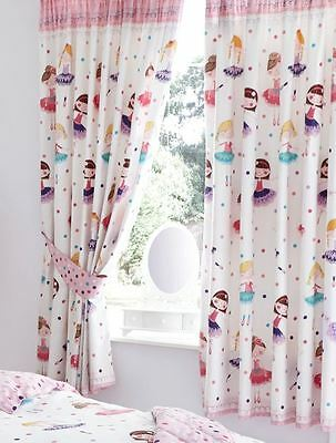 "Ballerina Dancing Ballet Dancer 54"" Lined Ready Made Curtains"