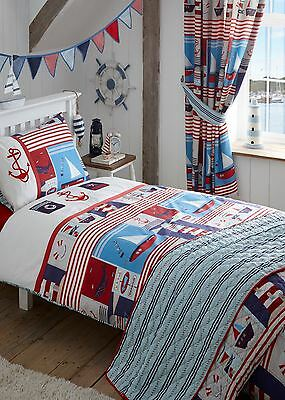 Maritime Sea Sailor Boat Ship Emroidered Single Duvet Cover & Pillowcase Set