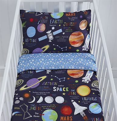 Space Planet Spaceship Sun Cot Duvet Cover & Pillowcase Set 90cmx120cm