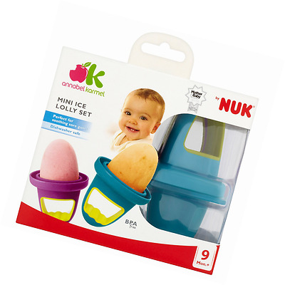 Set 4 NUK Baby Mini Ice Lolly Moulds Tray Fresh Fruit Lollies Ideal for Sore Gum