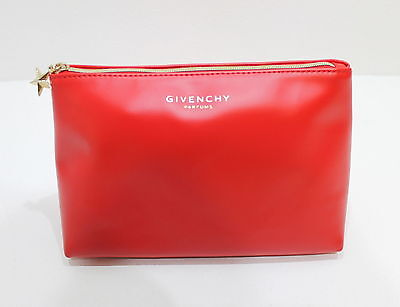 Givenchy Parfums  Trapezium Red Pouch /cosmetic / Make-Up Bag With Gold Zip