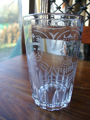 Hand Etched Glass Commemorating Coronation of King Edward VII & Queen Alexandra