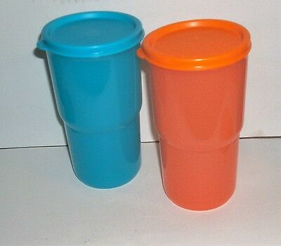 New Tupperware TableTop Tumblers Set of 2 Orange and Blue 12oz with Seals