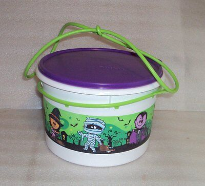 New TUPPERWARE 14 c Halloween Bucket Candy Carrying Canister w/ Handle