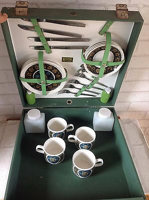 Vintage 1950's Brexton Green Hard Picnic Box Set with China Plates