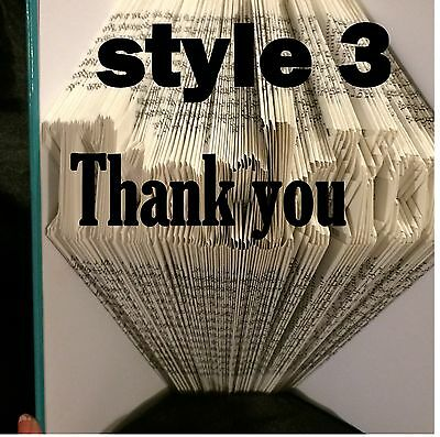 Book folding art pattern Thank You style 3 folded book pages 460 (pattern only)