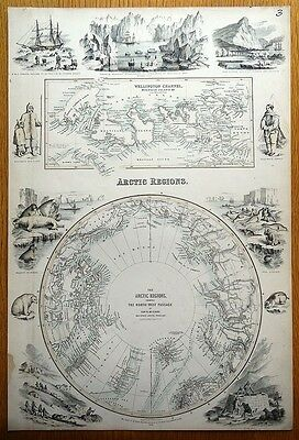 ARCTIC REGIONS, NORTH WEST PASSAGE NORTH POLAR, Fullarton antique map c1865