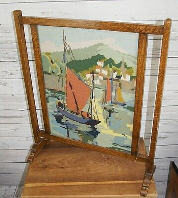 Antique Edwardian Large Wooden Fire Screen with Embroidered Fishing Port Scene
