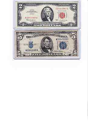 *1963 $2 USN Red Seal & 1934 C $5 Silver Certificate  lot of 2 u get all