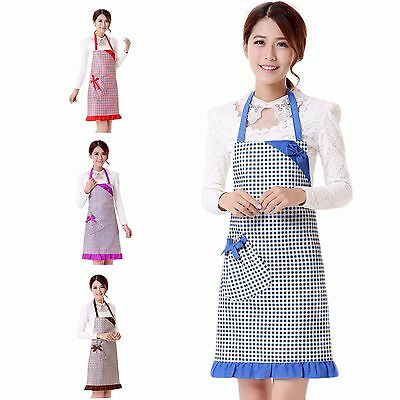 Womens Crinkle Border Checked Aprons Blue Brown Red Lilac