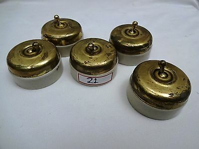 ANTIQUE BRASS & CERAMIC 5AMP VINTAGE ELECTRIC SWITCH VITREOUS 5 Pc LOT INDIA #21