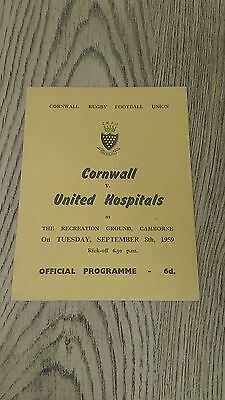 Cornwall v United Hospitals 1959 Rugby Union Programme