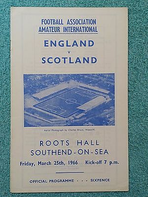 1966 - ENGLAND v SCOTLAND PROGRAMME - AMATEUR INTERNATIONAL