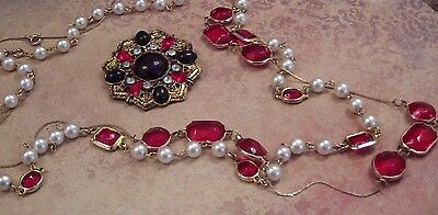 Vintage Gripoix Inspired Necklaces and Brooch, Ruby Red