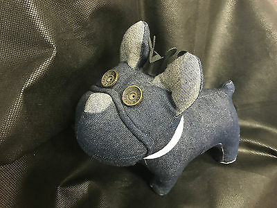 Jack & Jones Denim French Bull Dog Puppy Soft Toy Jeans Blue Mascot Collectible