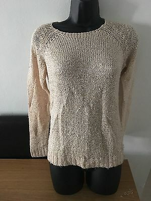 New Look Cream/ Gold Jumper Size 8