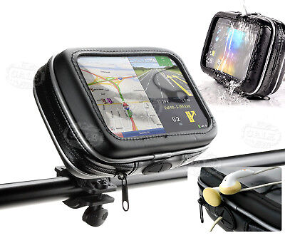 "5""/6"" Waterproof Motorcycle Bike Cycle GPS SAT NAV Leather Case + Mount Holder"