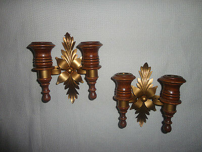 Home Interiors Set of 2-  Wood & Gold Metal Wall Sconces   Gorgeous