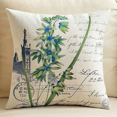 """Square Decorative Pillow Case Cushion Cover Green Orchid Thick Linen 18"""""""