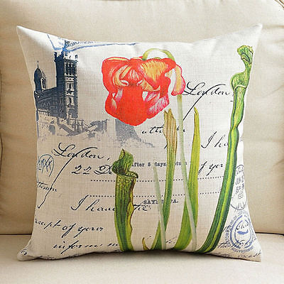 """Decorative Pillow Case Cushion Cover Sofa Throw Vintage Tulip Flower Thick 18"""""""