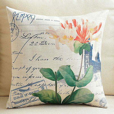 """Decorative Pillow Case Cushion Cover Sofa Throw Vintage Pink Flower 18"""""""
