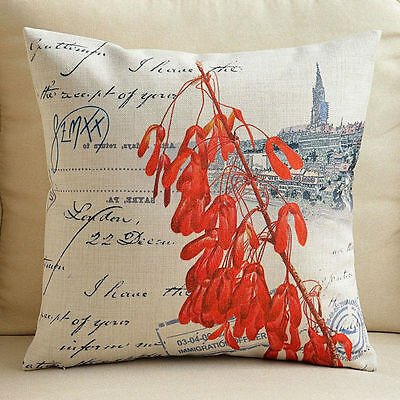 """Decorative Pillow Case Cushion Cover Sofa Throw Vintage Red Flower Thick 18"""""""