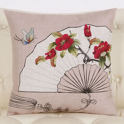 """Linen Cushion Cover Square Pillow Case Thick Beige Sofa Throw Fan&Flower 18"""""""