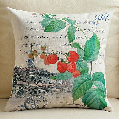 """Cotton Linen Cushion Cover Sofa Throw Pillow Case Vintage Red Berry Thick 18"""""""