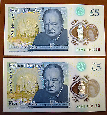 2X Brand New Aa01 £5 Notes Very Rare & Low Serial Numbers Perfect Gift For 2017*