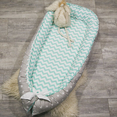 Toddler size babynest with Removable cover, co sleeper, crib, cot, mint chevron