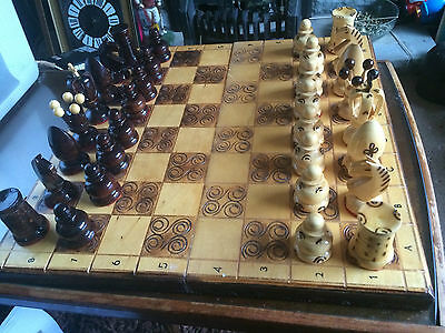 High Quality Wooden Chess Set , Board Folds up to store pieces