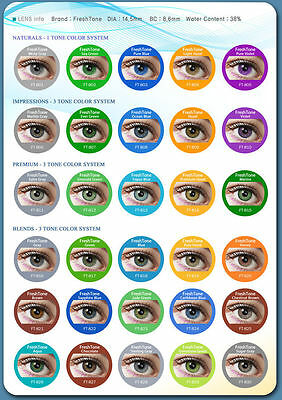 NEW FRESHTONE® Colored Contact Lenses Kontaktlinsen Coloured Contacts Lens Color