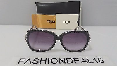 New FENDI Authentic Black Crystal Logo FF 0002/F/S 6ZVEU 57mm Sunglasses