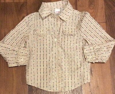 Gymboree Toddler Girls Long Sleeve Floral Ruffle Shirt Size 4