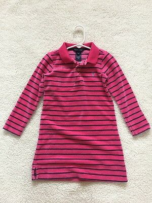Ralph Lauren Girls Shirt Dress Pink Navy Blue Striped Velour Size 4 Cute!!