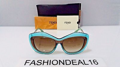 New FENDI Authentic Blue Brown FF 0029/F/S 7NUCC 56mm Sunglasses