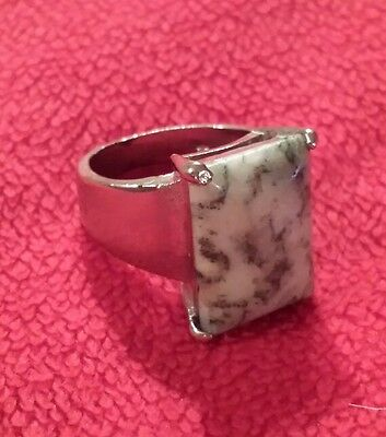 a vintage Silver and Tree Agate Ring.