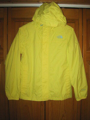 The North Face Hyvent waterproof rain jacket girls L 14/16 yellow hiking spring