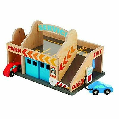 Melissa & Doug - Wooden Toy Service Station Parking Garage Play Set