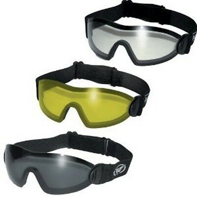 Lot of 3 Padded Motorcycle Goggle Clear Smoke Yellow Googles Skydiving Riding