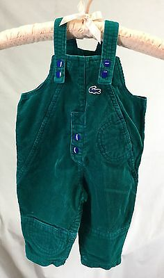 Vintage 80s IZOD LACOSTE Baby Overalls Snap Clothes Green 12 months Corduroy