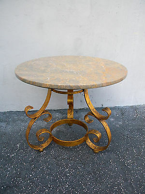 Round Mid-Century Hollywood Regency Gold Leaf Round Marble-Top Side Table 3986