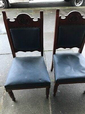 Pair Of Mahogany Are Nouveau Dining Chairs