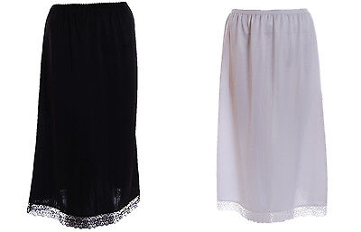 "Ladies black white waist half slip underskirt petticoat 27"" length"