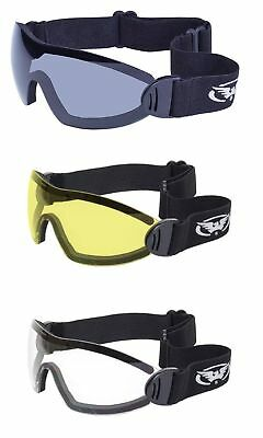 Lot of 3 Padded Motorcycle Goggle Clear Smoked Yellow Googles Skydive Riding ATV