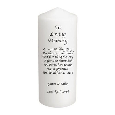 Personalised Remembrance In Memory Wedding Candle Gift Keepsake