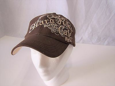 Beige Hard Rock Cafe Paris Embroidered Gothic Font Fitted Hat With Tags