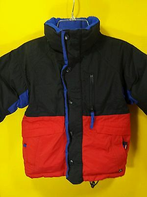 Toma Boys Red Black Blue Down Filled Puffer Jacket Coat Parka Size Small 4 EUC