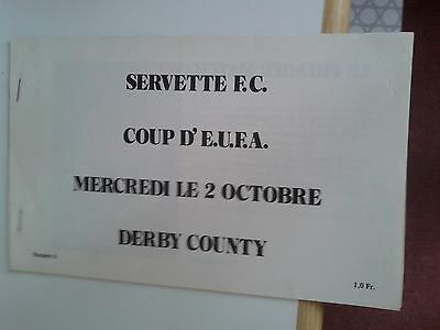 Servette Fc v Derby County UEFA Cup 1974