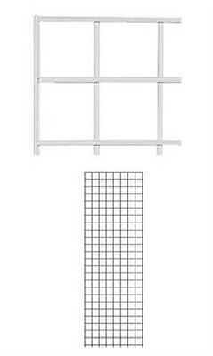 Set of 4 Gridwall Panels 2' x 6' Grid Wall Display White Panel Steel Powder Coat